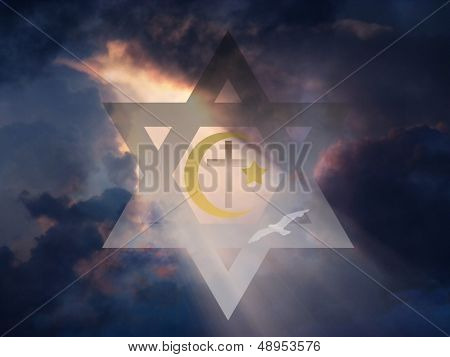 Star of David, Muslim Cresent and Cross