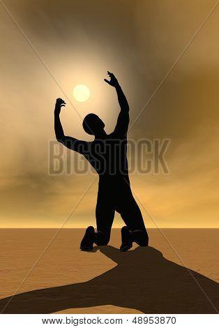 Prayer to the sun - 3D render