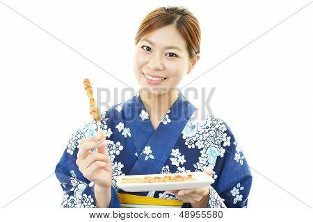 Beautiful woman wearing yukata