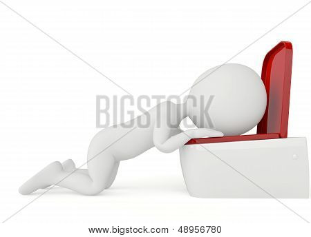 3D Humanoid Character Vomiting
