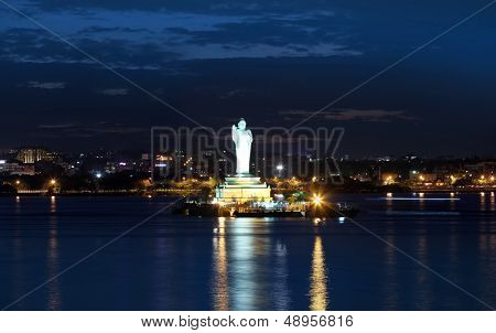 HYDERABAD,INDIA -August 31: Buddha statue in Hyderabad on August 31,2012, Worlds tallest monolithic statue of the Buddha with 58 ft in Hyderabad .