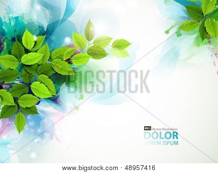 banner with fresh green leaves