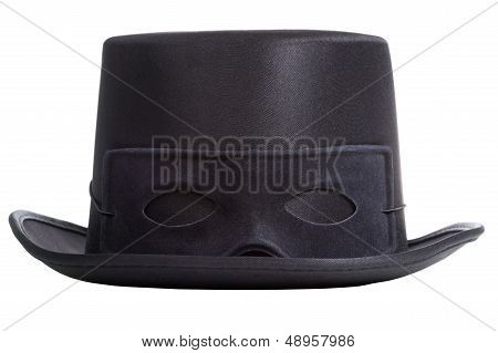 Black Top Hat With Mask Isolated On White