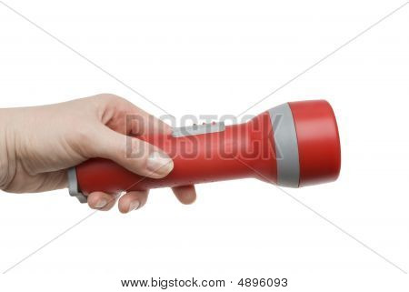 Flashlight In A Female Hand