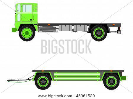 Retro Truck And Trailer