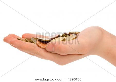 Hand Is Holding Some Small Euro Coins