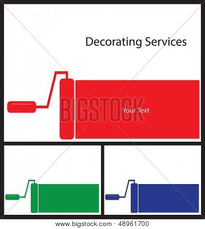 Business card template for painters and decorators. Card shape 3.5 by 2.5.