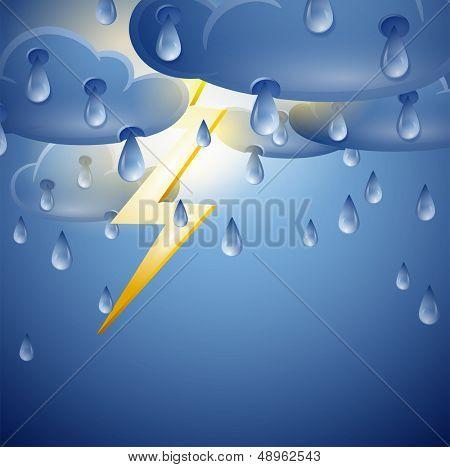 Cielo con nubes de tormenta y relámpagos. Ilustración de vector de mal tiempo con tempestades de truenos y luz