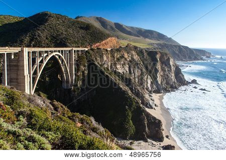 Bixby Bridge And Coastline At Big Sur