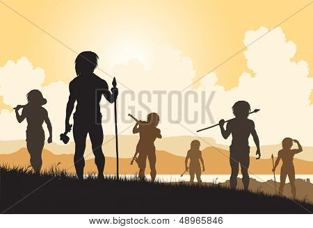 Editable vector silhouettes of cavemen hunters on patrol