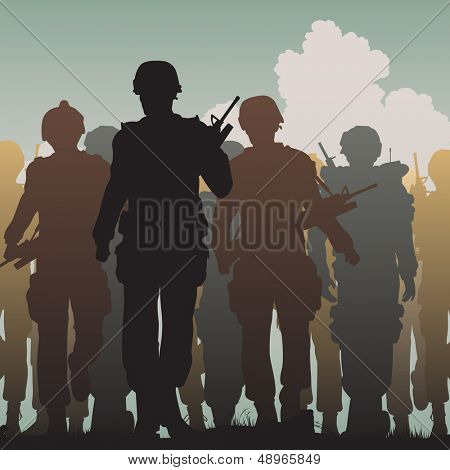 Editable vector silhouettes of armed soldiers walking together