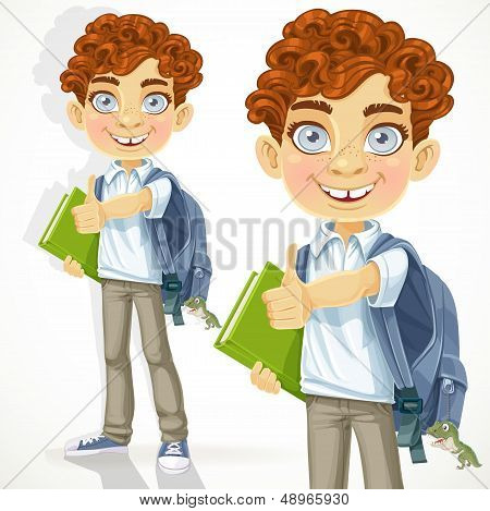 Cute curly-haired boy with books and school backpack