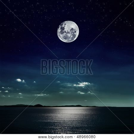 Full Moon Reflected On The Beach