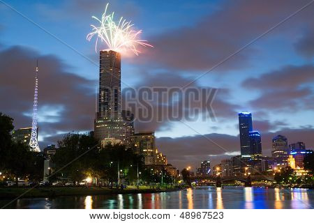 Melbourne Skyline At On Australia Day
