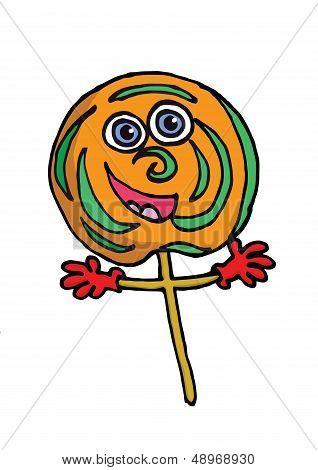 A cartoon lolipop