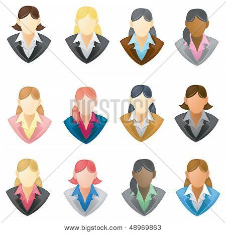 Set Of Businesswoman Icon In Full Vector Style