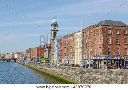 DUBLIN, IRELAND - JUNE 7: Panoramic view of Bachelors Walk and River Liffey, Dublin, Ireland on June 7, 2013