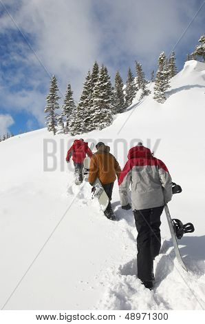 Rear view of three people with snowboards hiking up snow hill