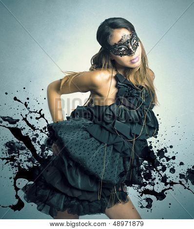 Sensual Girl In A Carnival Mask