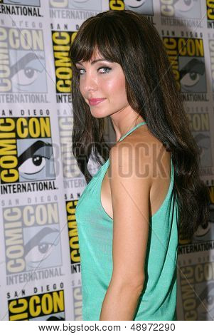 SAN DIEGO, CA - JULY 20: Ksenia Solo arrives at the 2013 Comic Con press room at the Hilton San Diego Bayfront hotel on July 20, 2013 in San Diego, CA.