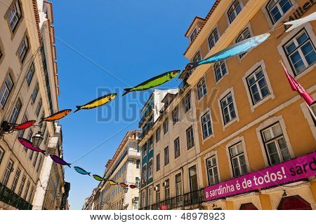 Streets Decorated With Sardines During Lisbon Festival
