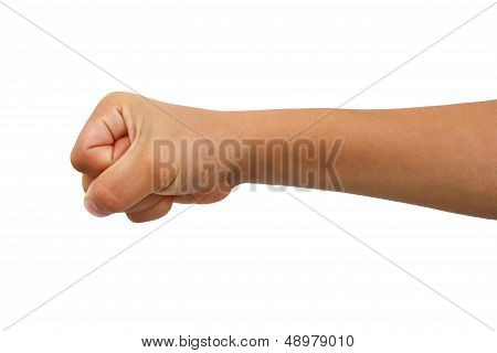 Young boys arm extended into a fist.