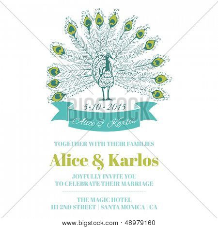 Wedding Vintage Invitation - Peacock Theme - for design, scrapbook - in vector