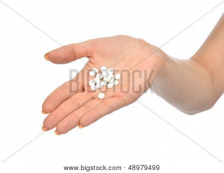 Open Palm Painkiller Pill Capsules Medicine