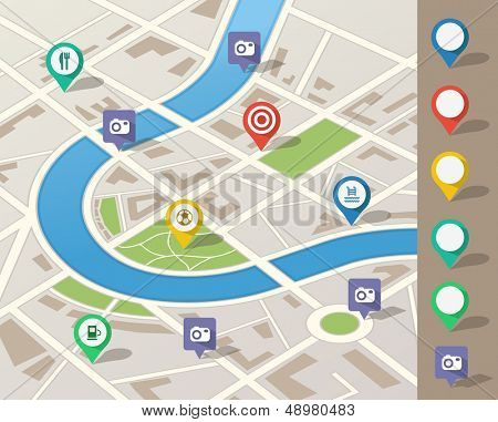 city map illustration containing various location pins