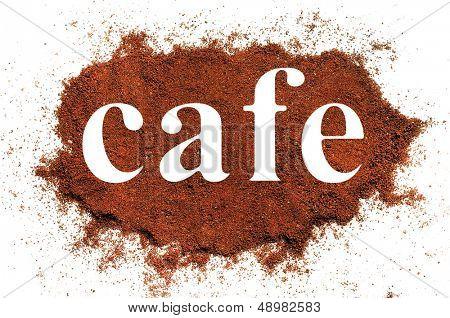 Isolated cafe word on white background