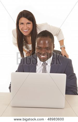 Business Man And Woman Computer Smile