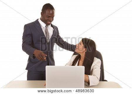 Business Woman Sit Man Point
