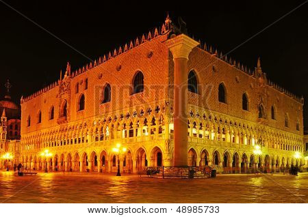 view of the Palazzo Ducale, Doges Palace, in Venice, Italy, at night
