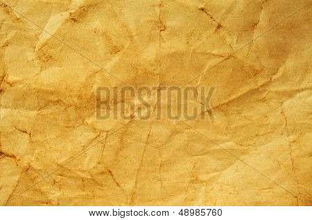 closeup of a yellowish and crumpled blank old paper