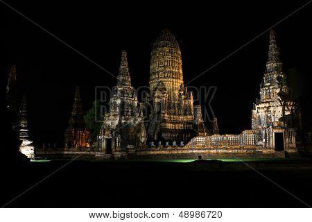 Wat Chaiwattanaram At Night Time In Ayudhaya, Thailand