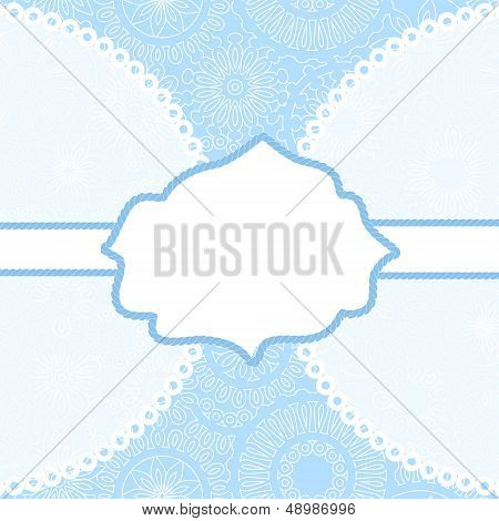 White frame for your text on blue filigree lacy background card, vector