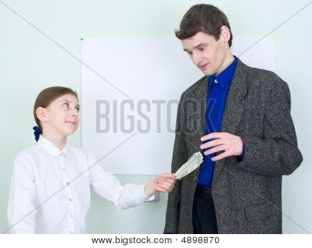 Girl Stretches Money To The Guy