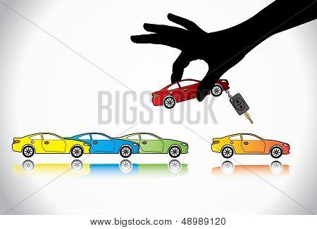 Car Sale Or Car Key Concept Illustration : A Hand Silhouette Choosing Red Colored Car With key