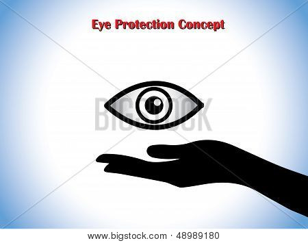 Eye Protection Or Eye Doctor Concept Illustration Using Hand Silhouettes Protecting An Open Eye