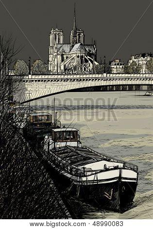 Ilustração em vetor de Rio Sena-Paris com barcaças - Ile de la Cité e Notre-Dame - tempestuoso weath
