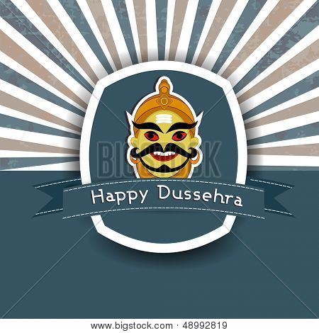 Illustration of Ravan face on vintage background for Indian festival Dussehra celebration.