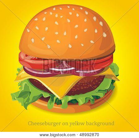 Cheeseburger on yellow background. Vector illustration