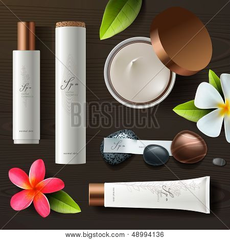 Natural spa cosmetics on wooden background