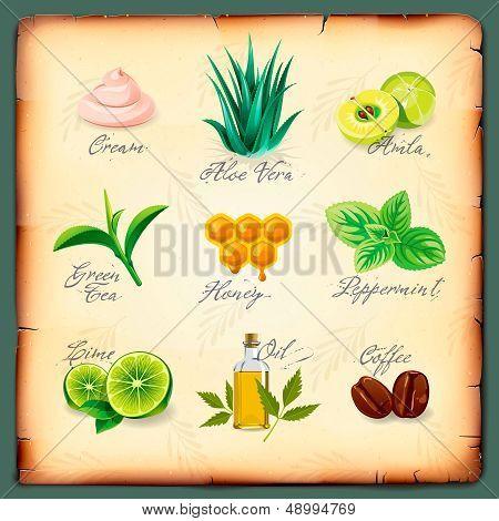 Set of natural cosmetics ingredients