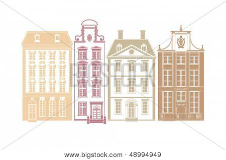 Row of four town houses in 19th century styles. Each house on own layer with easily editable color swatch.