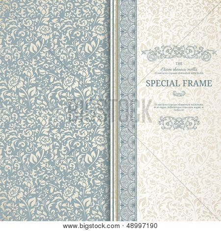 Blue and beige vintage background with seamless pattern