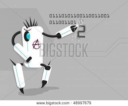 Vector funny anarchic robot writing number 2