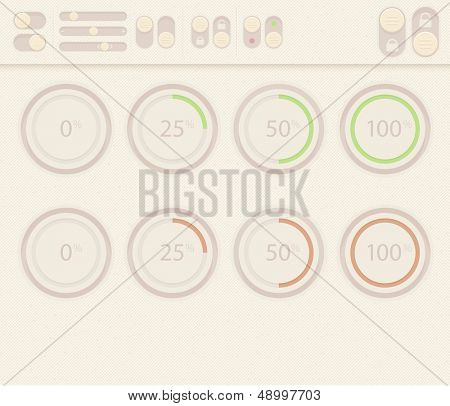 Vector set of design elements for web interface