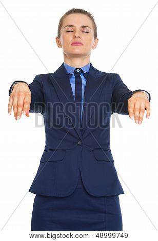 Portrait Of Business Woman Walking Like Zombie