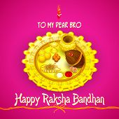 pic of rakhi  - vector illustration of rakhi pooja thali for Raksha Bandhan - JPG